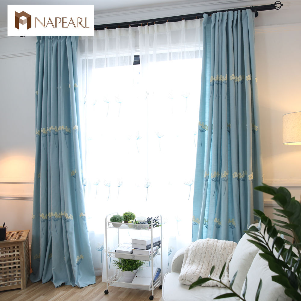 Blue bedroom window curtains - Embroidered Curtains Kid Room Girl Bedroom Blue Pink Curtain Drape Floral Design Short Window Curtain For