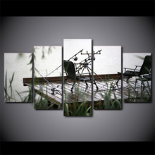 Modular Picture Large Canvas Painting Framework 5 Piece Fishing Chair Printed For Bedroom Living Room Home Wall Art Decor