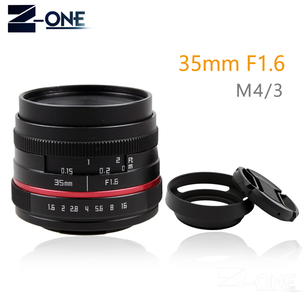 Red 35MM F1.6 small wide angle manual APS-C camera lens for Olympus Panasonic M43 MFT EP5 OMD EM5 E-M1 Mark II E-M5