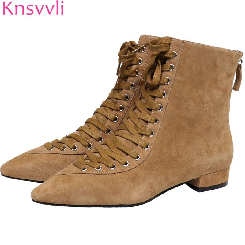 Knsvvli khaki kid suede ankle boots for women new pointy toe cross strap ladies short booties back zip flat heel women shoes цена