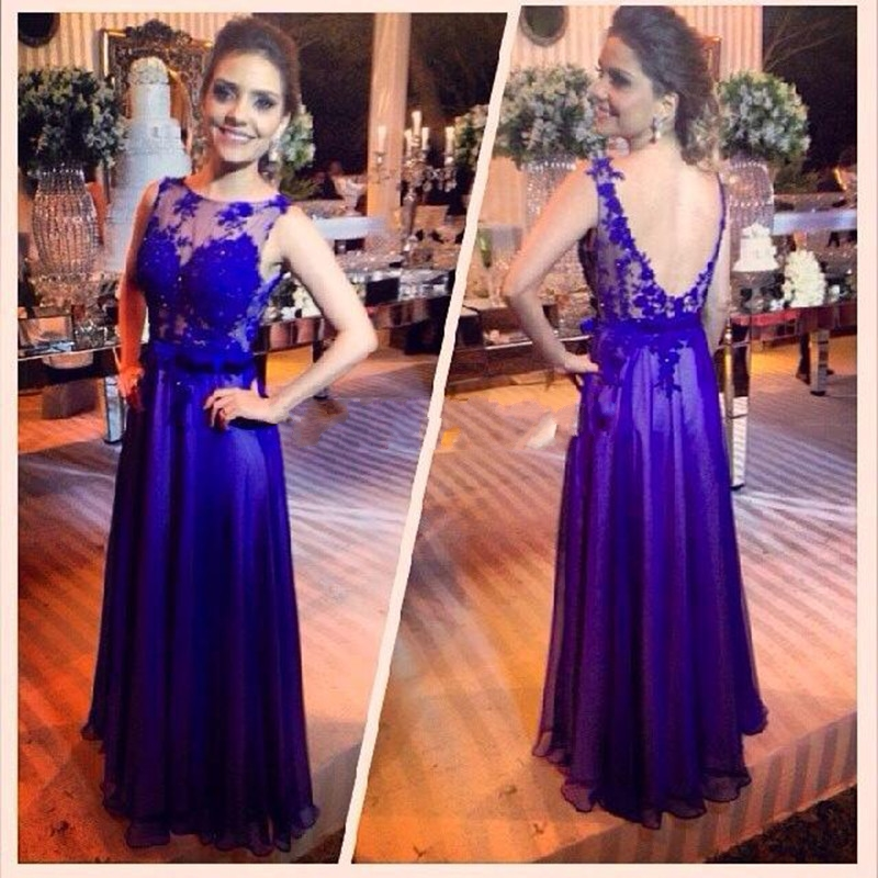 Prom font b Dresses b font 2017 New blue Purple Scoop Applique Floor Length Vestido De