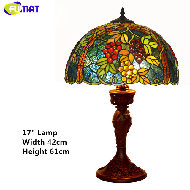 FUMAT Stained Glass Lamp Living Room Bedside Table Lamp High Quality Grapes Harvest Glass Shade Decor Light Fixtures