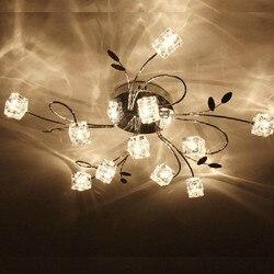 AC110V 220V nowoczesny żyrandol lutres Chrome crystal abażur G4 LED lampy sufitowe oprawa moderne oświetlenie