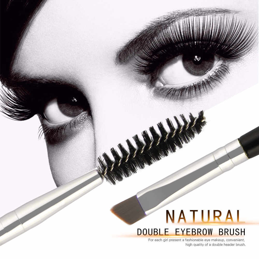 Maange 1 Pcs Duo Brow Makeup Sikat Pegangan Kayu Double Sided Alis Datar Miring Kuas Make Up Sikat Alat C0920