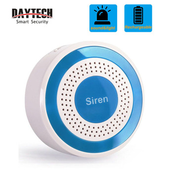 DAYTECH 433Mhz Wireless Siren Alarm Alert Sensor  WiFi GSM Security Alarm System Strobe Siren 100dB Sound Flashing  light(JH006) smartyiba wifi gsm 2g home security alarm system wireless wired zone motion sensor with wireless strobe siren