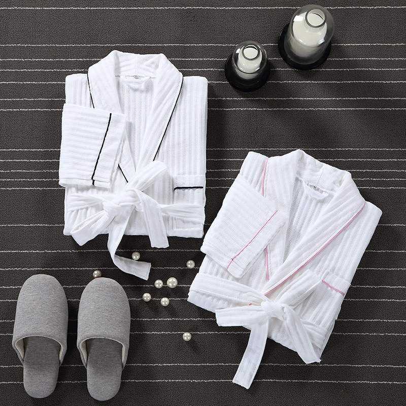 Bath Robe Men Dressing Gown Unisex Men's Robe Sleeve Solid Waffle Kimono Robe Sleep Lounge Bathrobe Peignoir Nightgowns Lovers