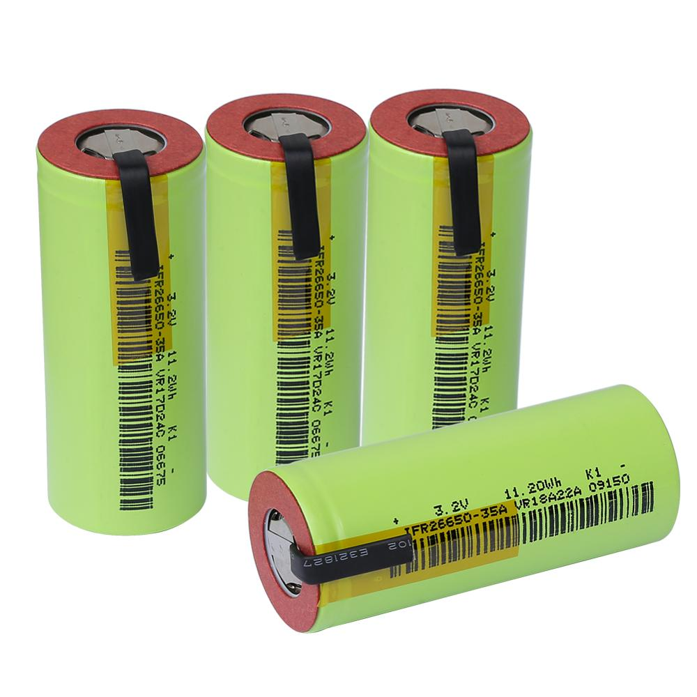 4pcs IFR 26650 lifepo4 35A 3500mAh 3 2V rechargeable battery 10 rate discharge with suitable DIY
