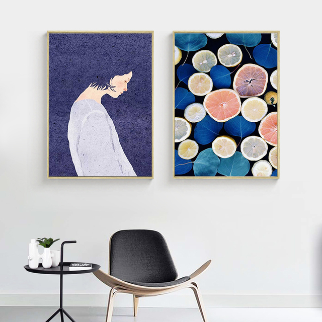 Nordic Fashion Vogue Fruit Orange Girl Canvas Print