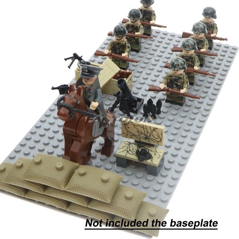Legoinglys WW2 soldados del ejército de tropas militares alemán Rusia nos Reino Unido soviética Italia bloque de construcción con armas accesorios Juguetes