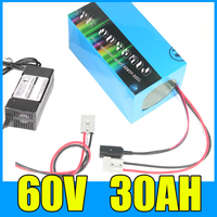 Original 60V 30AH Lithium ion Electric Scooter Bike Battery for Li ion Ebike 1000W Bicycle Motor & 30A BMS 67.2V 3A Charger