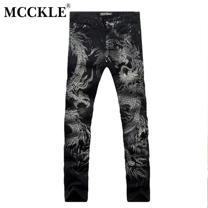 MCCKLE New Black Jeans Men 100% Cotton Dragon Pattern Brand Designer Mens Printed Jeans Slim Fit Denim Mens Jeans Joggers Q1413