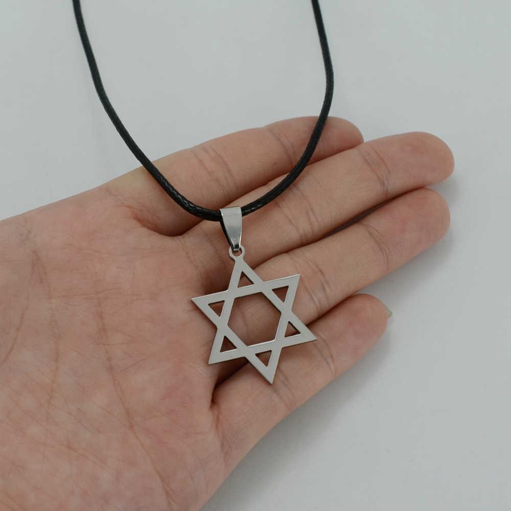 Anniyo wisiorek gwiazda dawida liny dla kobiet/mężczyzn izrael łańcuch Magen David gwiazda żydowska biżuteria heksagram #000408