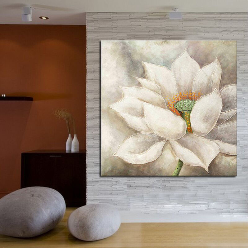 Us 42 0 Handmade White Lotus Flower Oil Painting Beautiful Wall Paintings For Bedroom Wall Decoration Canvas Art Home Decor In Painting