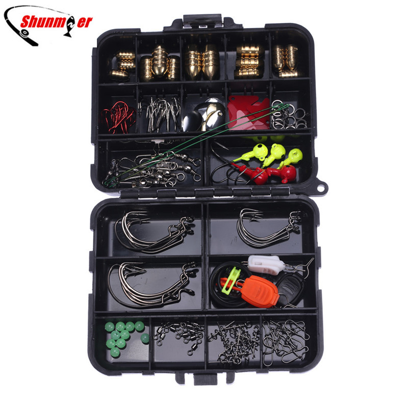 SHUNMIER 138pcs/box Fishing Accessories Fishing Tacking Kit  Crank Hook Lead Sinker Fishing Lures Soft Baits Pesca Peche Tackle super value 101pcs almighty fishing lures kit with mixed hard lures and soft baits minnow lures accessories box