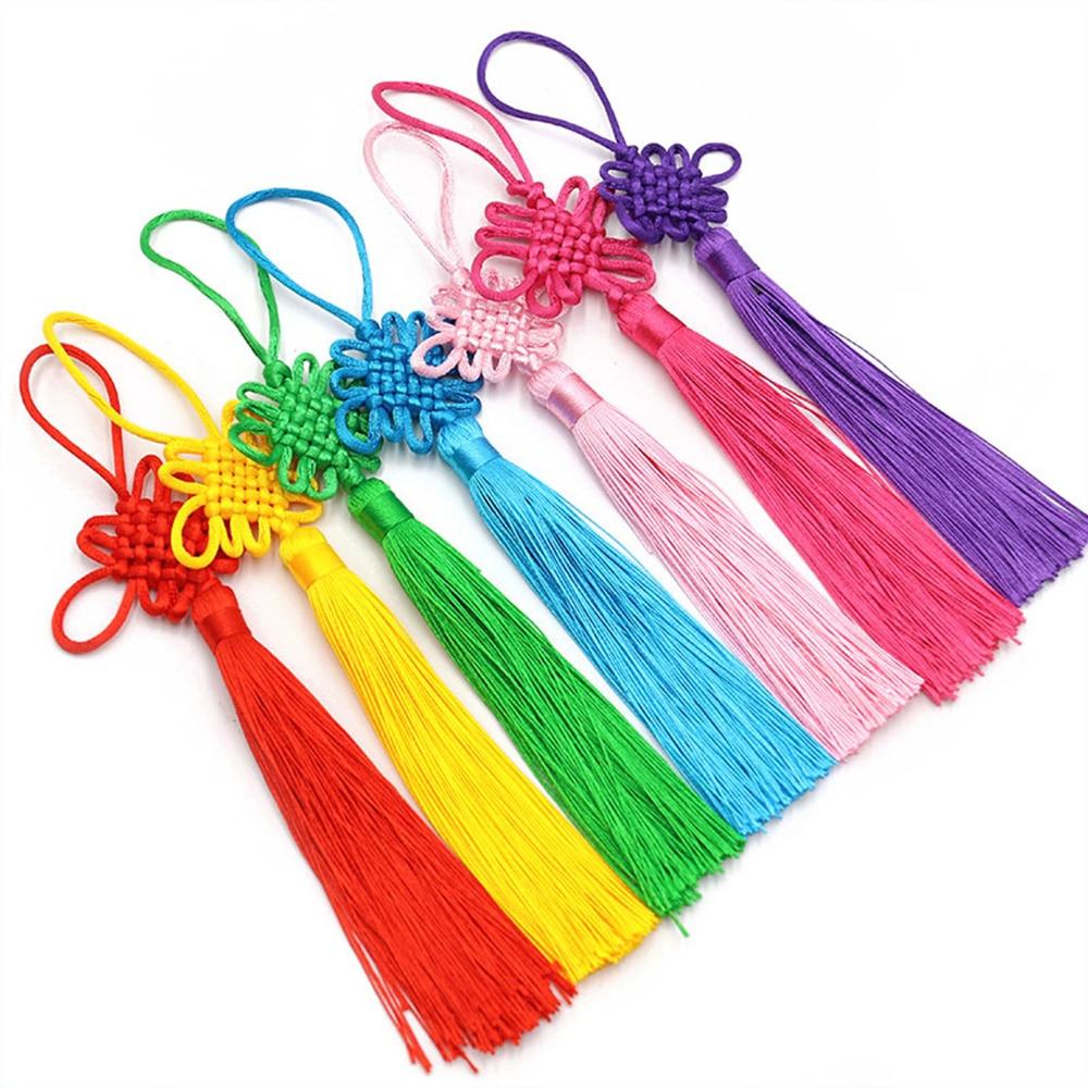 2pcs/lot 12cm Multicolor Chinese knot silk tassel brush fringe Phone Satin Tassels Pendant tassels for crafts DIY home decor