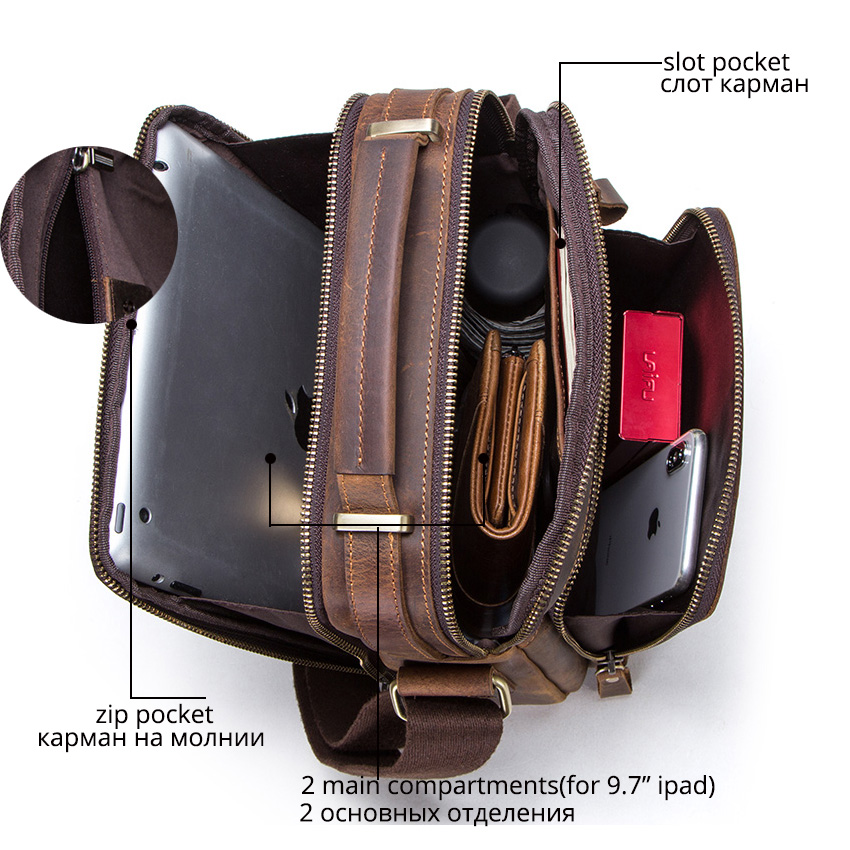 CONTACT'S crazy horse leather men's shoulder bag vintage messenger bags men bolsos male crossbody bags man's handbag sling bag 3