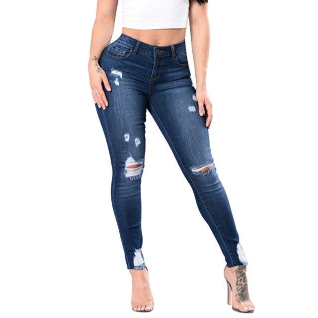 f3141ac314 Nuevos pantalones lápiz Delgado Mediados de cintura Stretch Jeans Mujer  señoras Slim Sexy Denim agujero lápiz