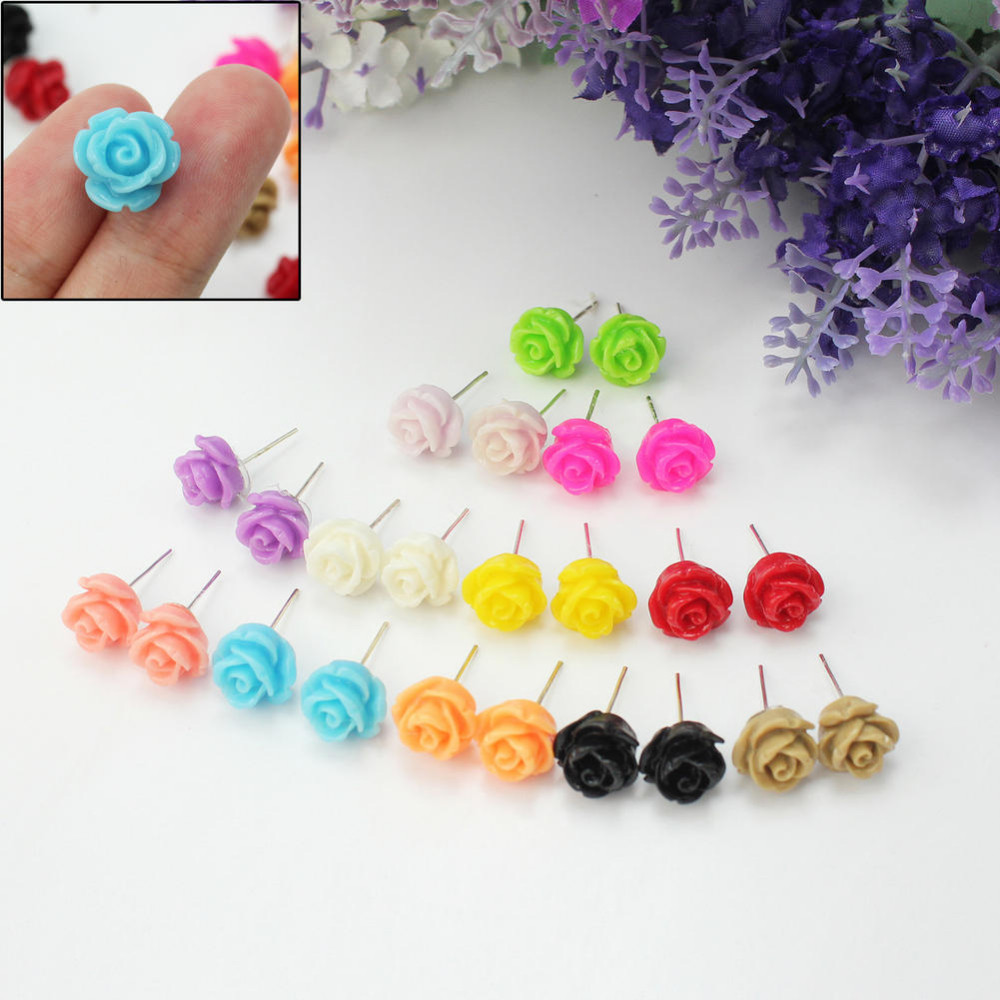 12 Pairs Women Girls Delicate Charming Resin Rose Flower Jewellery ...