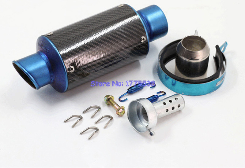 PHULEOVEO 51mm Inlet Universal Carbon Fiber Motorcycle Motorbike Scooter Exhaust Pipe Muffler Escape with DB Killer Silencer