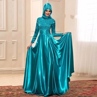 Modest Muslim Teal green Long Sleeve Evening Dresses with Lace Applique Moroccan Kaftan Formal Party Gown