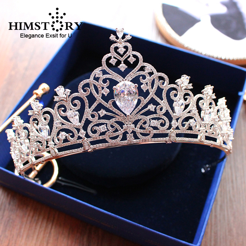 Stunning Cubic Zircon Heart Shape Wedding Tiara CZ Waterdrop Bridal Crown Queen Princess Pageant Party Hair