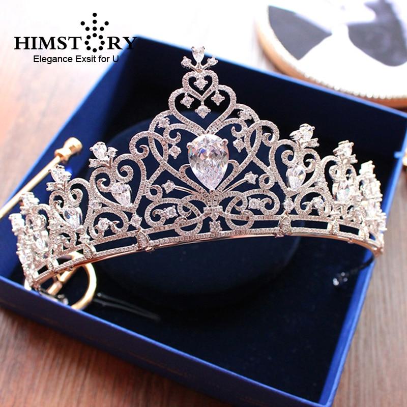 Stunning Cubic Zircon Heart Shape Wedding Tiara CZ Waterdrop Bridal Crown Queen Princess Pageant Party Hair