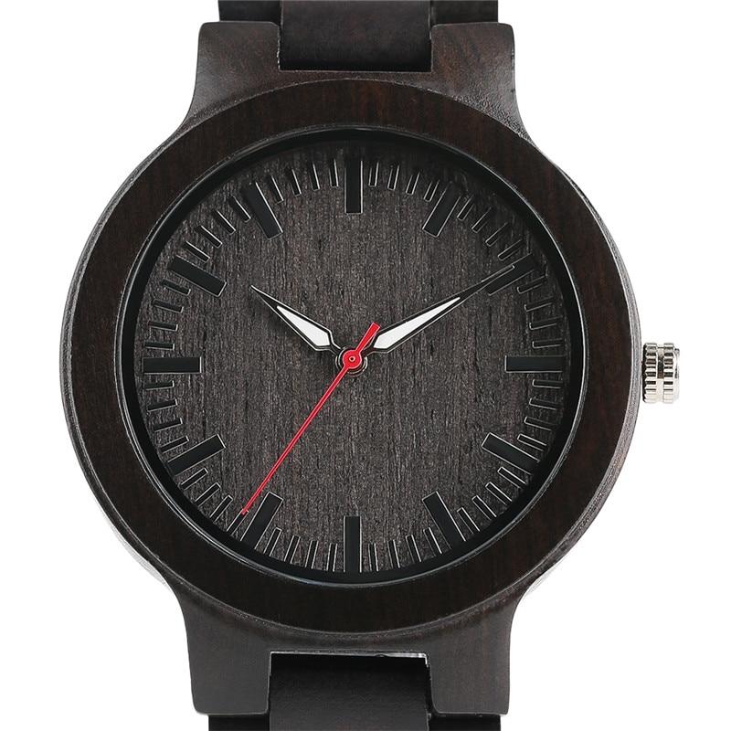 Full Ebony Men Wrist Watch Nature Black Wood Fold Clasp Quartz Watches Casual Simple Sport  Bamboo Wooden Analog Wristwatch Gift цена 2016