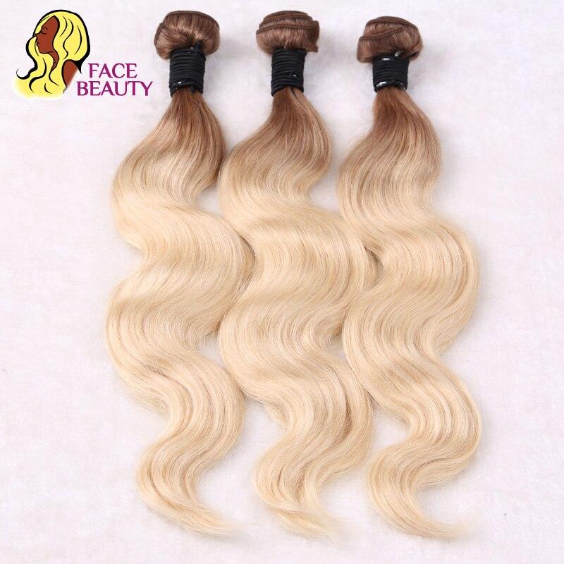 Facebeauty 3 шт./лот 2 Tone Ombre Пучки Волос t8/613 блондинка бразильский Средства ухода за кожей волна Человеческие волосы ткань светлые волосы пучков п...