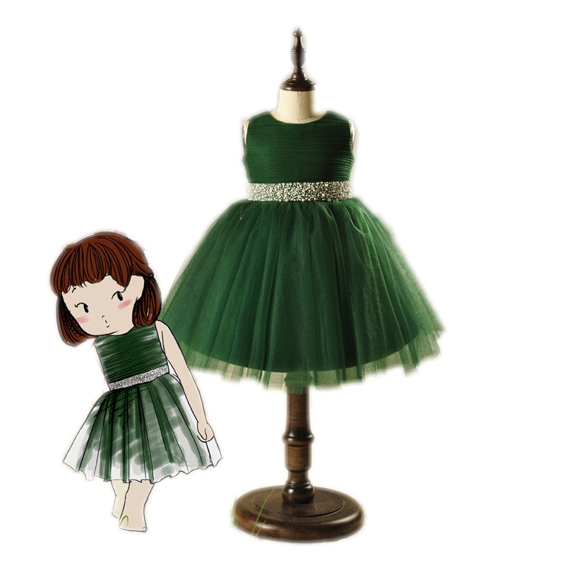 Little Girls Fairy Tale Ball Gown Lapshade Dress Top Quality Kids High Waist Ceremonial Robe Wizard of OZ Green Outfit for Girl nina stefanovich tale about littleworm book for kids