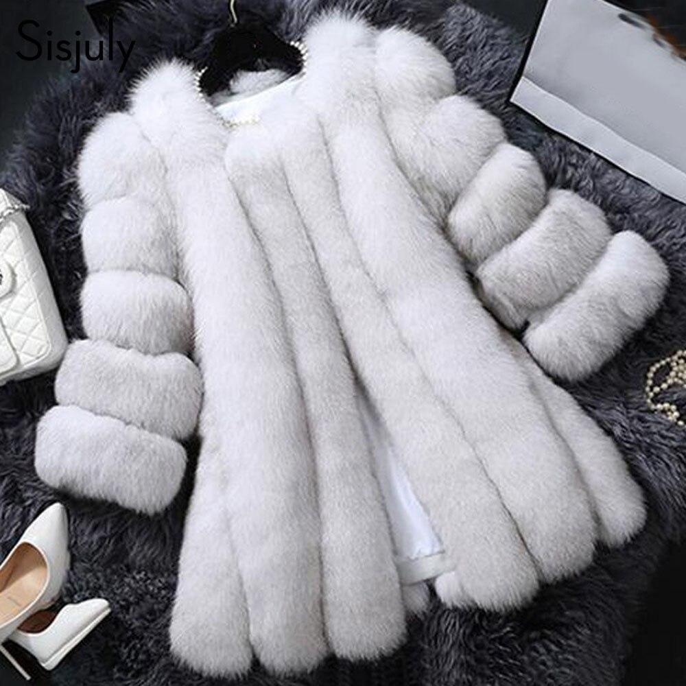 Sisjuly женские пальто из искусственного меха осень-зима меха лисы одноцветное белые толстые средней длины Теплый элегантный тепловой модное ...