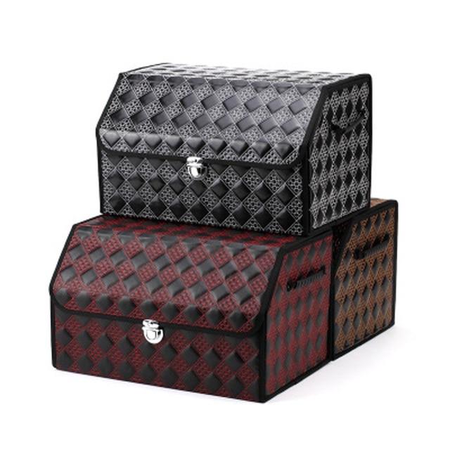 coffre de voiture en cuir bo te de rangement pliable orgainzer noir auto bouteille outil. Black Bedroom Furniture Sets. Home Design Ideas
