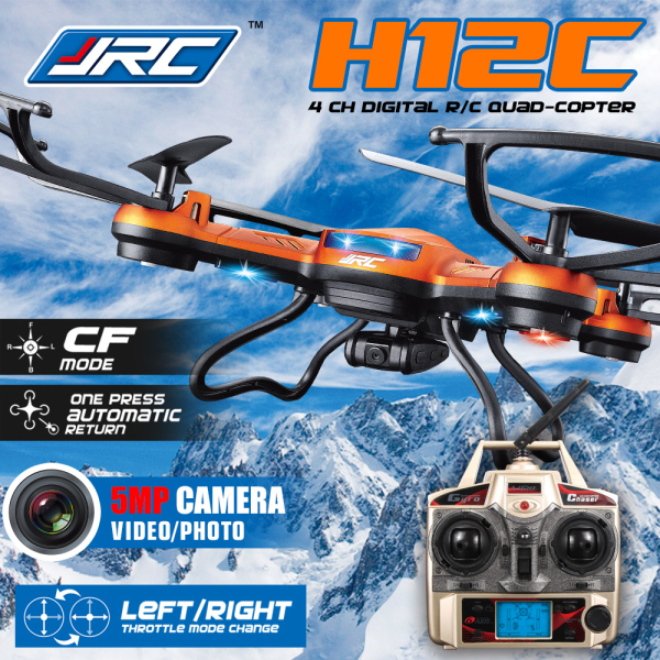 JJRC H12C 4CH 360 Degree Flips One-key-return 2.4GHz RC Quadcopter w 5MP Camera Headless Mode RTF with more battery original jjrc h12c drone 6 axis 4ch headless mode one key return rc quadcopter with 5mp camera in stock