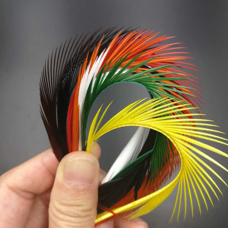10Pcs\Lot Goose Feather Prince Nymph Tail Wing Case Stone Fly Fishing Tying Material Black White Brown Red Green Purple Orange [1 pcs] 2 meter fly tying glitter rib chironomid nymph braid line olive black pearl red gold silver brown color