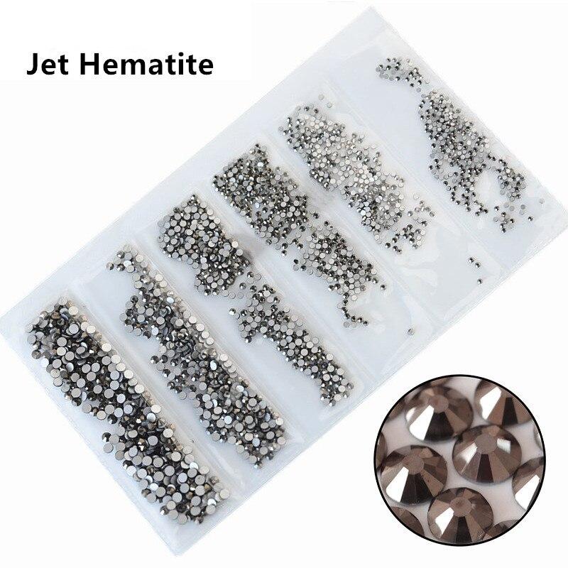 31 цвет, SS3-SS10, разные размеры, Хрустальные стеклянные стразы для дизайна ногтей, для 3D дизайна ногтей, стразы, украшения, драгоценные камни - Цвет: Jet Hematite