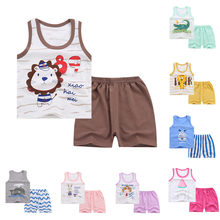High quality Baby Boy Girl Kids Sleeveless Cartoon Tracksuit Sport Suit Vest Pants Clothing Summer Clothes Dropping Roupa Menino(China)