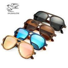 Polarized Sunglasses Women Men Layered Skateboard Wooden Fra