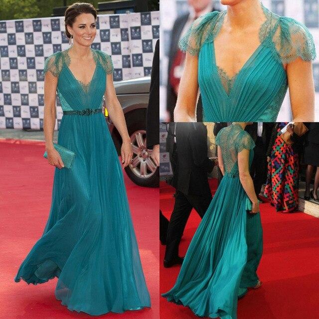 2015 Kate Middleton Green Lace Dress V-Neck Neckline Sleeveless Celebrity  Dress Sequined A-Line Floor-Length Dress Celebrity 2a64dd69c27e