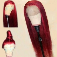 Simbeauty Red Straight 360 Lace Frontal Human Hair Wig Free Part