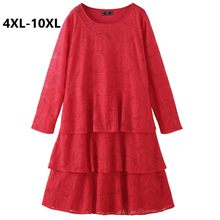 Plus Size 4XL 6XL 8XL 10XL Women Spring Lace Dress Long Sleeve Vintage Tiered Red Dress Sliming Big Size Party Dress For Mujer(China)