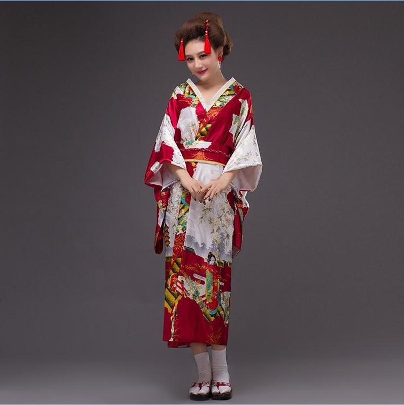 Burgundy Japanese Style Lady Evening Party Dress Silk Satin Kimono Sexy Yukata With Obi Stage Dance Dress One Size NK006