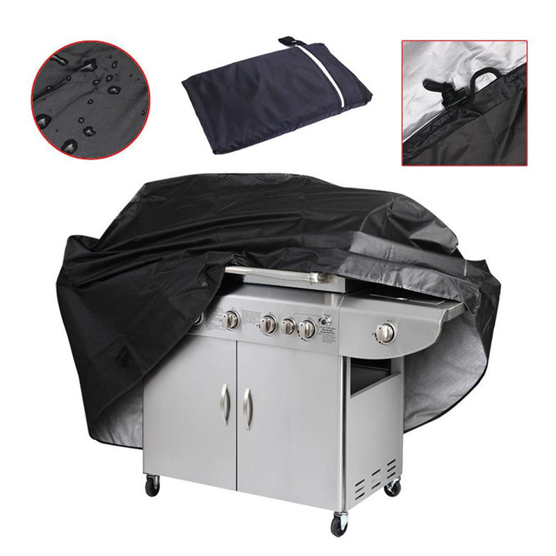 Black Waterproof Rectangle BBQ Grill Barbeque Cover O utdoorRain Anti Dust Protector For Gas Charcoal Electric Barbecue Grill