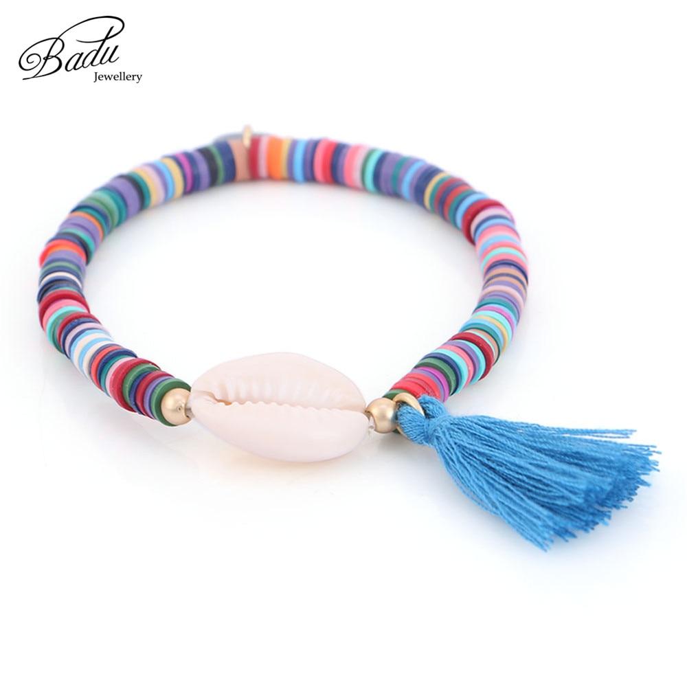 Badu White Shell Elastic Bracelet Bohemian Colorful Polymer Clay Beaded Bracelets for Women Holiday Jewelry Seashell Beach