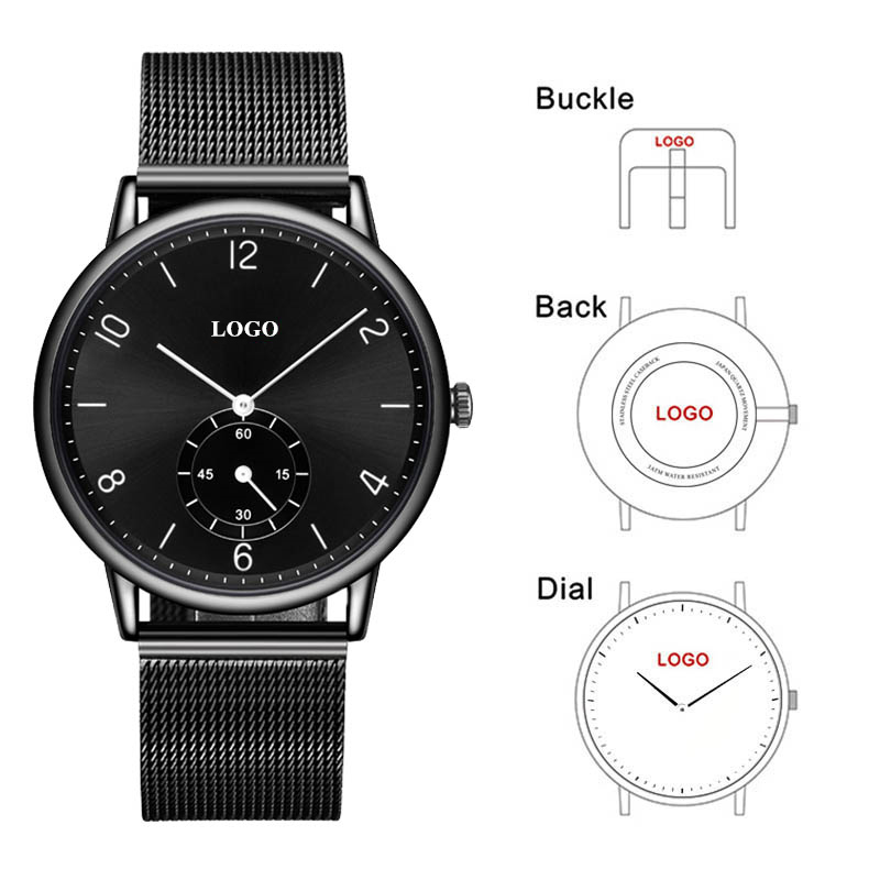 CL031 OEM Brand Watch Customize Logo Men Watches Stainless Steel and Leather Band Make Your Own Watch