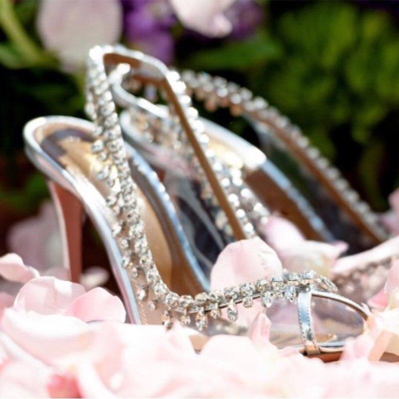 Main Peep Talons Et Lame Argent Cristal Pvc Pic Toe As Chaussures Cuir En Femme Métallique Slingback Sandales Pompes Embelli Effacer rr6qSACxw