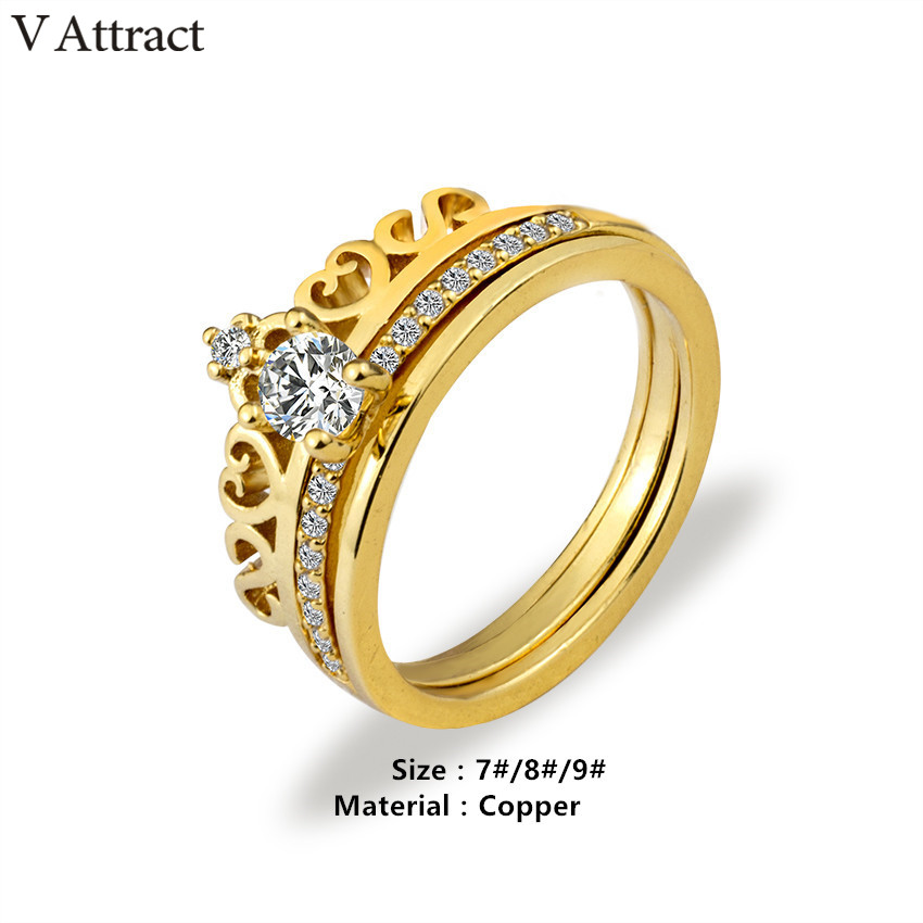 V Attract Rings Set Stainless Steel Princess CZ Crown Ring for Women Engagement Gift Gothic Jewelry Best Friend Ringen