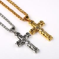NYUK Jesus Pattern Piece Pendant Christian Gift Wholesale Vintage Gold Chain Cross Necklace Punk Hip Hop Jewelry For Men Women