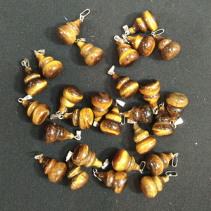 Image 1 - 2017 Fashion high quality natural tiger eye stone gourd charms pendants for DIY jewelry accessories 50pcs/lot  Wholesale free