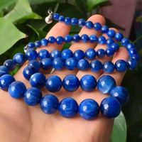 Natural Genuine Blue Lapis Lazuli Gem Stone Round Bead Women Stretch Charm Necklace 5 12mm