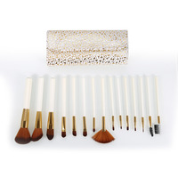 Full Function Brand Professional 15pcs Top Quality Makeup Brushes With Leather Case Set Cosmetic Tool