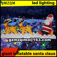 4m Long Christmas Decoration Inflatable Santa Claus With Led Lighting Giant Inflatable Santa Claus Snowmobile Deer